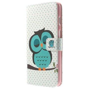 iPhone 6 Plus / 6S Plus Wallet Leren Hoesje Groene Uil
