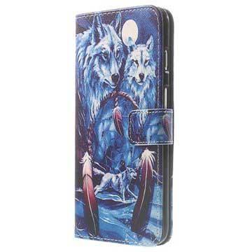 iPhone 6 Plus / 6S Plus Wallet Leren Hoesje Wolf