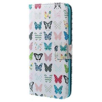 iPhone 6 Plus / 6S Plus Wallet Leren Hoesje Kleurrijke Vlinder
