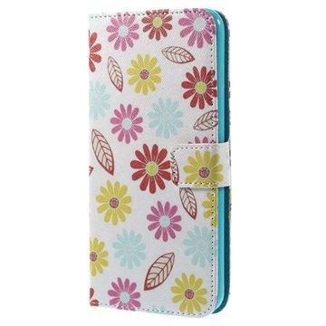 iPhone 6 Plus / 6S Plus Wallet Leren Hoesje Kleurrijke Bloemen