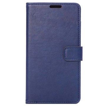 Samsung Galaxy Note 4 Wallet Leren Hoesje Donkerblauw