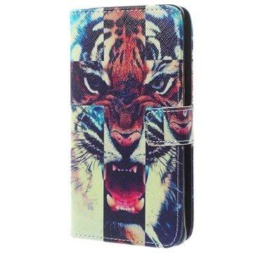 Samsung Galaxy Note 4 Wallet Leren Hoesje Tiger