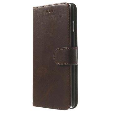 iPhone 6 Plus / 6S Plus Wallet Leren Hoesje Coffee