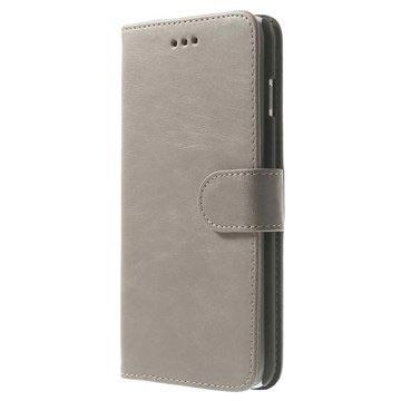 iPhone 6 Plus / 6S Plus Wallet Leren Hoesje Grijs