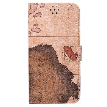 iPhone 6 Plus / 6S Plus World Map Wallet Leren Hoesje Bruin