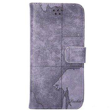 iPhone 6 Plus / 6S Plus World Map Wallet Leren Hoesje Grijs