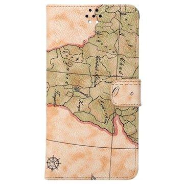 Samsung Galaxy Note 4 World Map Wallet Leren Hoesje Beige