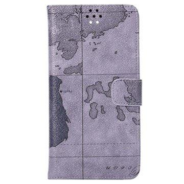 Samsung Galaxy Note 4 World Map Wallet Leren Hoesje Grijs