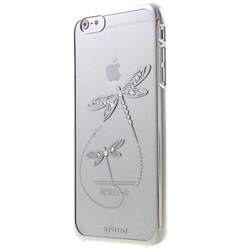 iPhone 6 Plus / 6S Plus X-Fitted Swarovski Crystal Hard Cover - Dragonfly Zilver