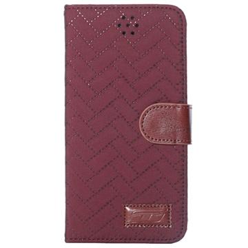 iPhone 6 Plus / 6S Plus Zigzag Wallet Leren Hoesje Wijnrood