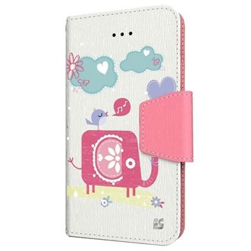 iPhone 6 Plus Beyond Cell Infolio Design Wallet Leren Hoesje Olifant / Vogel