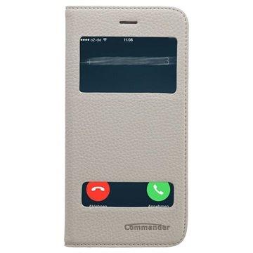 iPhone 6 Plus / 6S Plus Commander Double Window Flip Leren Case Wit