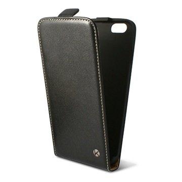 iPhone 6 Plus / 6S Plus Ksix Vertical Flip Leren Case Zwart