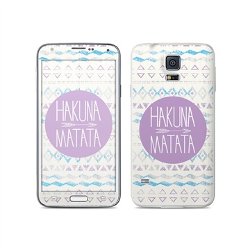 Dit is geen cover, dit is een decoratieve beschermde skin sticker!samsung galaxy s5 hakuna matata skin  mete ...