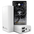 Beyond Cell Universal Dual USB Power Bank - Wing Skull / Wit